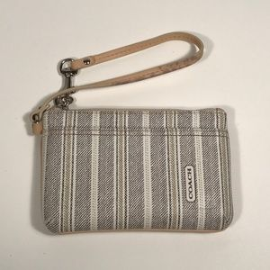Coach Coated Leather Zip Closure Wristlet
